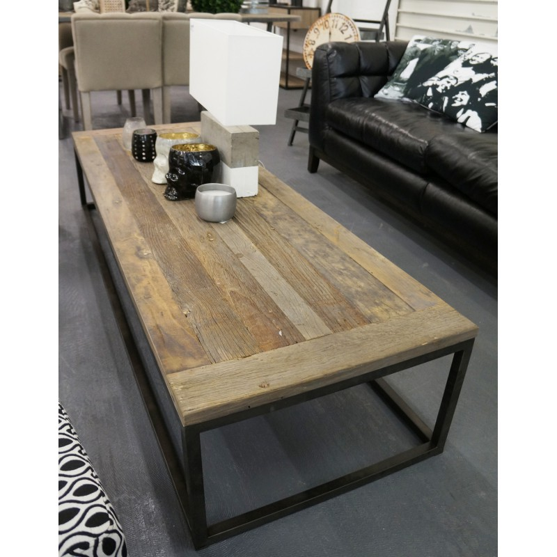 Table basse en orme et m tal new york hanjel - Table basse relevable new york ...