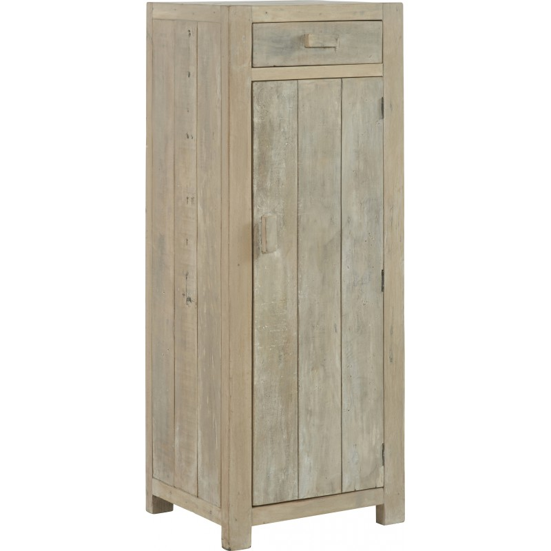 chiffonnier en bois massif blanchi 47x40x125cm mahe hanjel. Black Bedroom Furniture Sets. Home Design Ideas