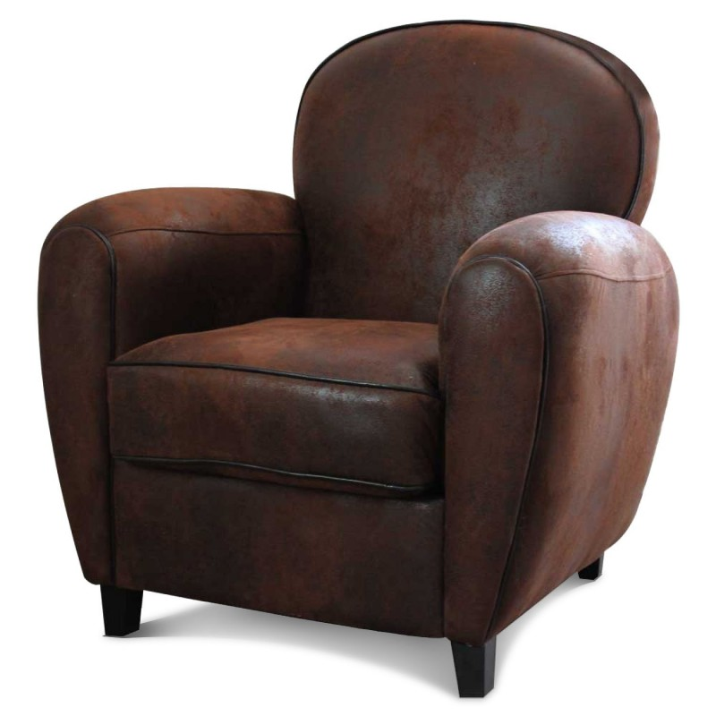 fauteuil club en microfibre aspect cuir vieilli marron. Black Bedroom Furniture Sets. Home Design Ideas