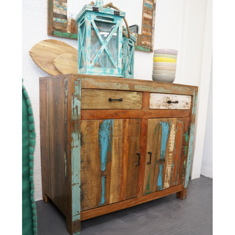 buffet en bois recycl 2 portes 2 tiroirs soho hanjel. Black Bedroom Furniture Sets. Home Design Ideas