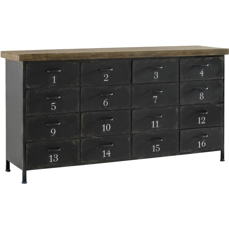 buffet industriel en m tal 16 tiroirs 161x42 5xh84 5cm. Black Bedroom Furniture Sets. Home Design Ideas