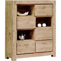 Armoire en acacia massif couleur truffe blanchie 130x45x153cm STACEY - RV Design