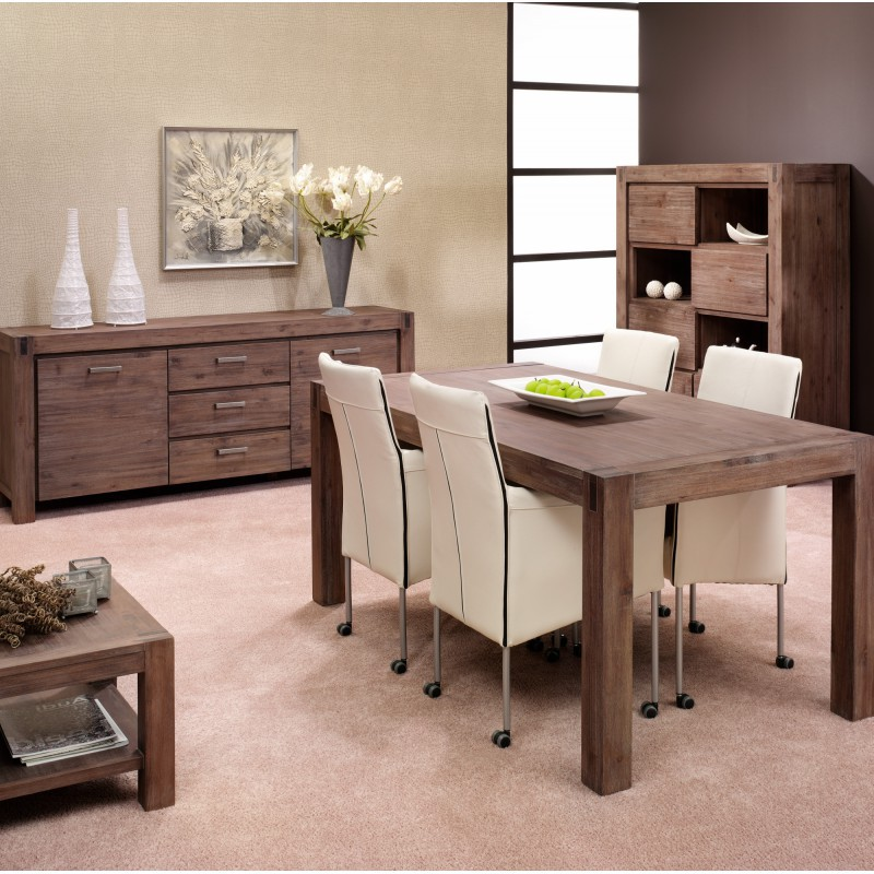 table de salle manger en acacia massif lave 200x100x77cm stacey trendy homes. Black Bedroom Furniture Sets. Home Design Ideas