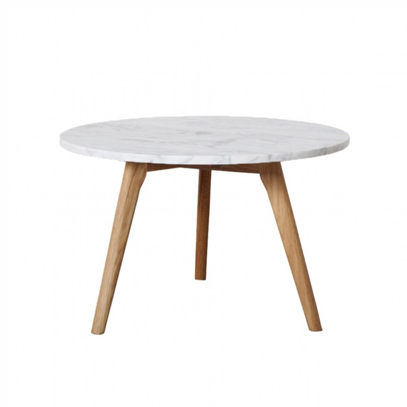 Table basse ronde scandinave en marbre blanc et bois d - Table ronde en marbre ...