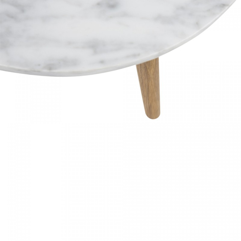 Table basse ronde scandinave en marbre blanc et bois d for Table basse blanc scandinave