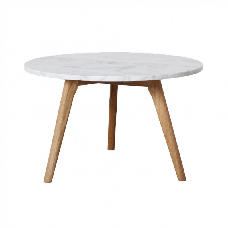 Table basse ronde scandinave en marbre blanc d50cm fiord - Table ronde en marbre ...
