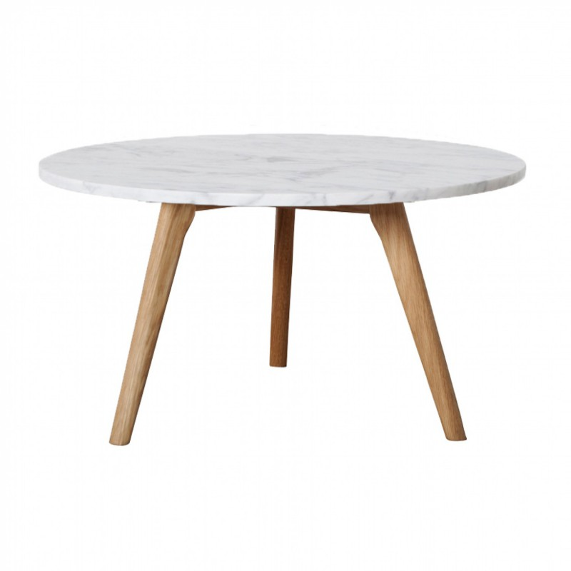Table basse ronde scandinave en marbre blanc d60cm fiord for Table scandinave blanc