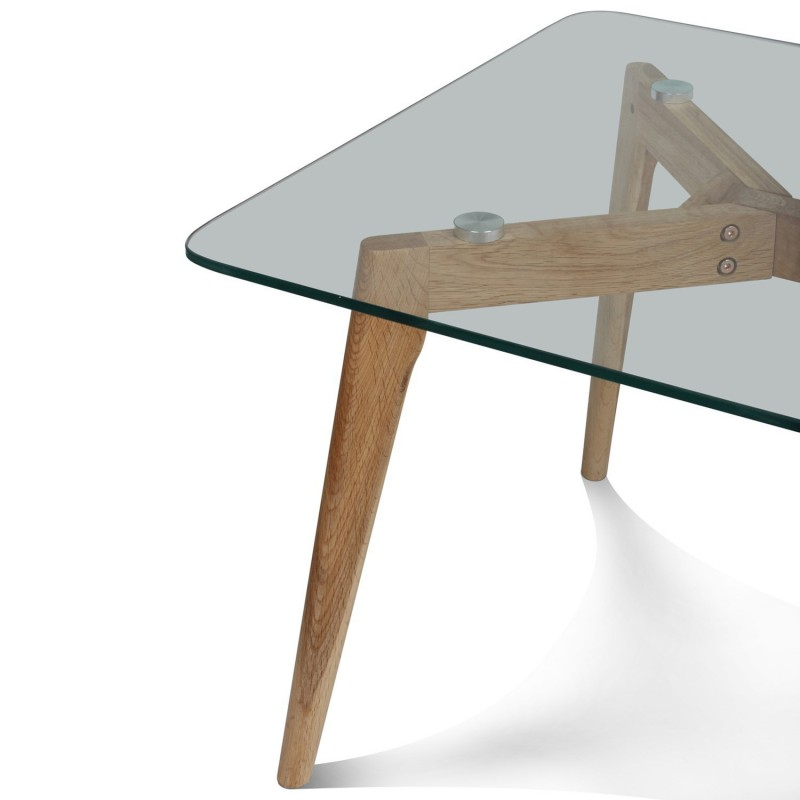 Table basse design en verre et bois 110x60x45cm fiord for Table basse en bois