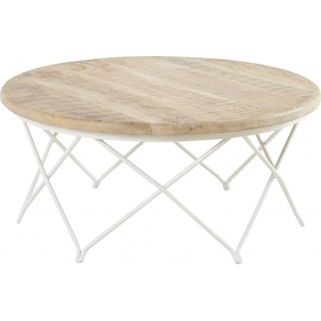 Table basse ronde en manguier et fer blanc biarritz hanjel - Table basse en manguier ...
