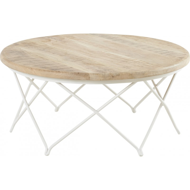 table basse ronde en manguier et fer blanc biarritz hanjel trendy homes. Black Bedroom Furniture Sets. Home Design Ideas