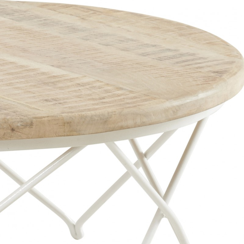 Table basse ronde en manguier et fer blanc biarritz hanjel trendy homes - Table basse manguier ...