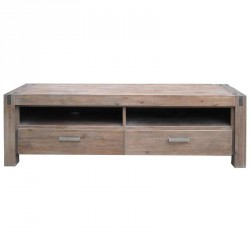 Meuble TV en acacia massif teinte truffe blanchie 164x50x54cm STACEY - RV Design