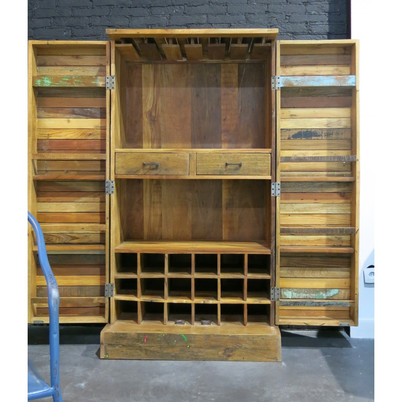 armoire de cuisine en bois recycl soho hanjel. Black Bedroom Furniture Sets. Home Design Ideas