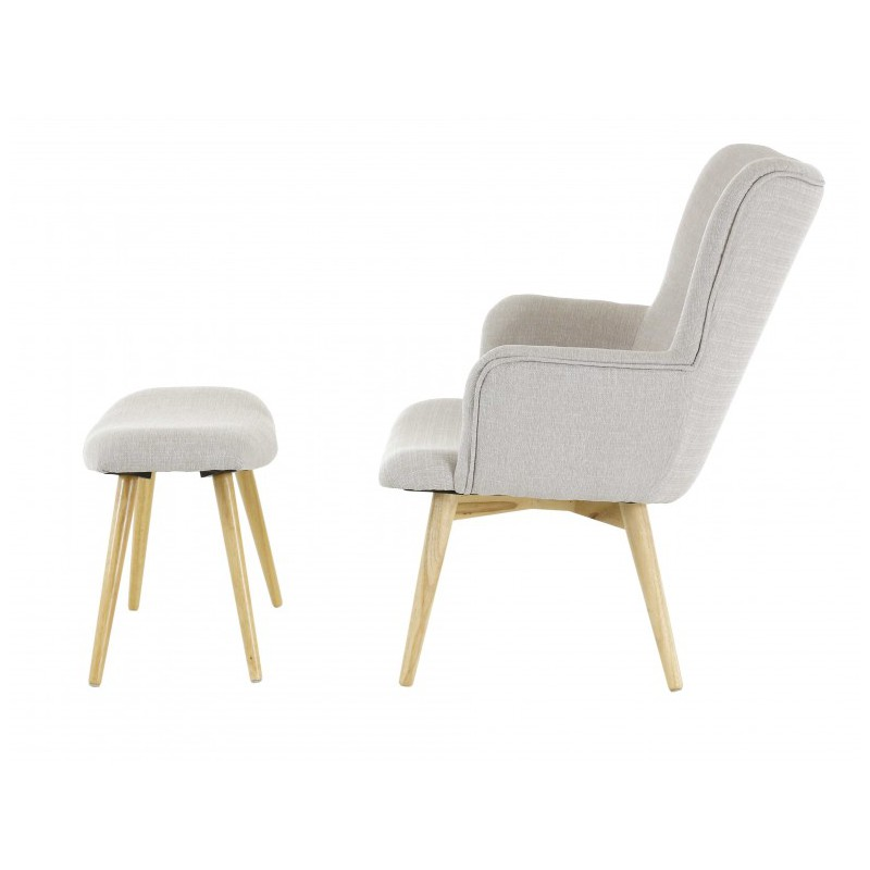 fauteuil scandinave en tissu avec repose pieds stockholm trendy homes. Black Bedroom Furniture Sets. Home Design Ideas