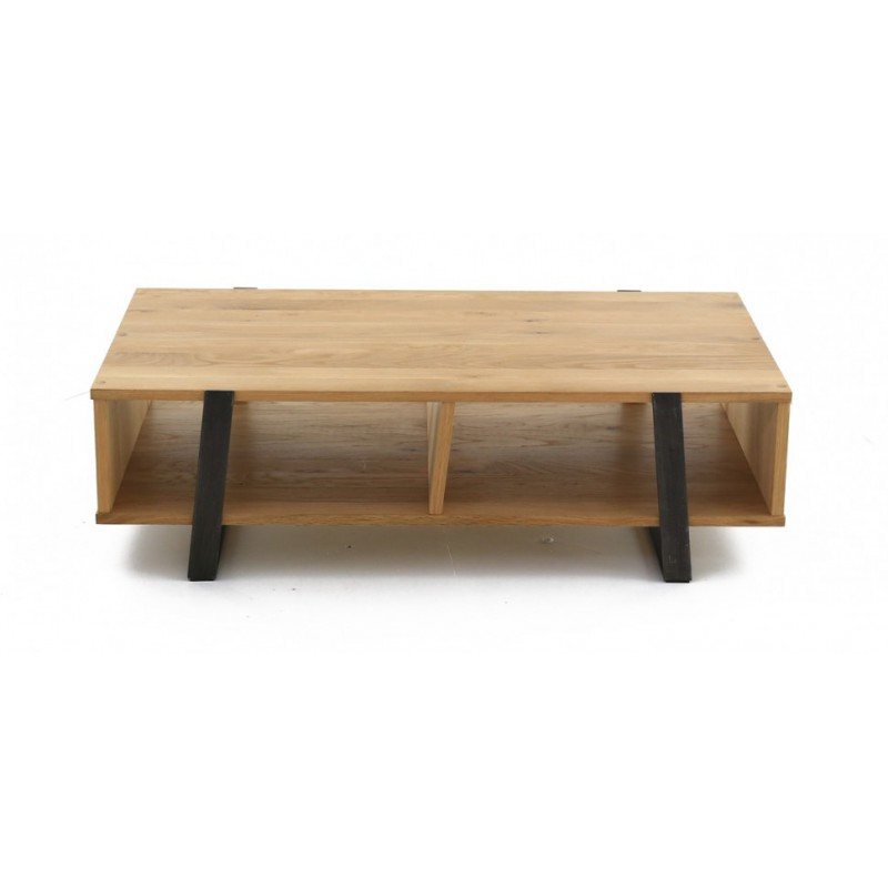 Table basse en ch ne massif et m tal 120 60 35cm eclypse for Table basse en metal scandinave