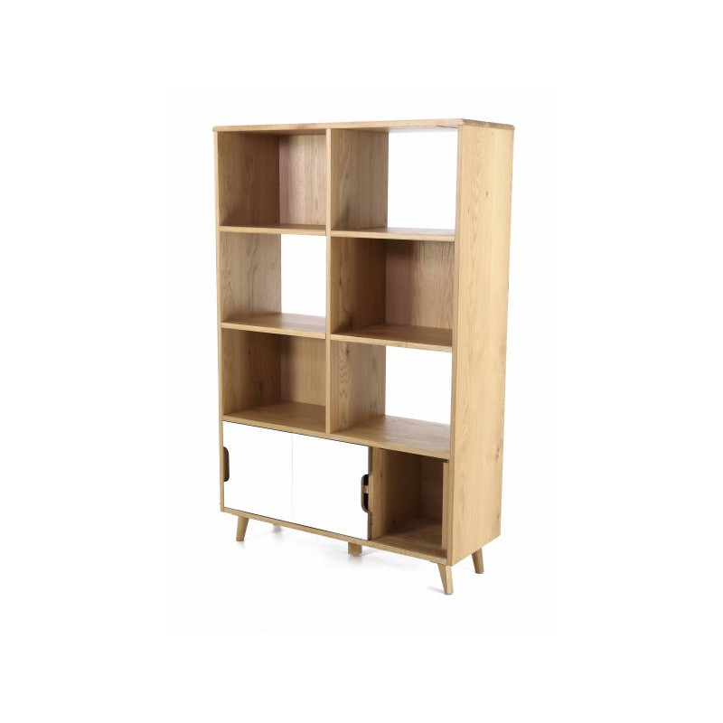 Biblioth que en ch ne et formica 8 niches 2 portes elfy trendy homes - Bibliotheque en chene ...