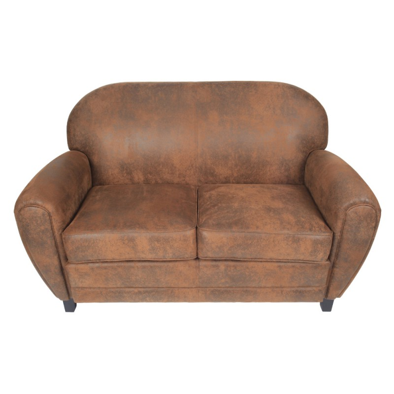 Canap club 2 places en microfibre marron trendy homes for Dimension canape 2 places