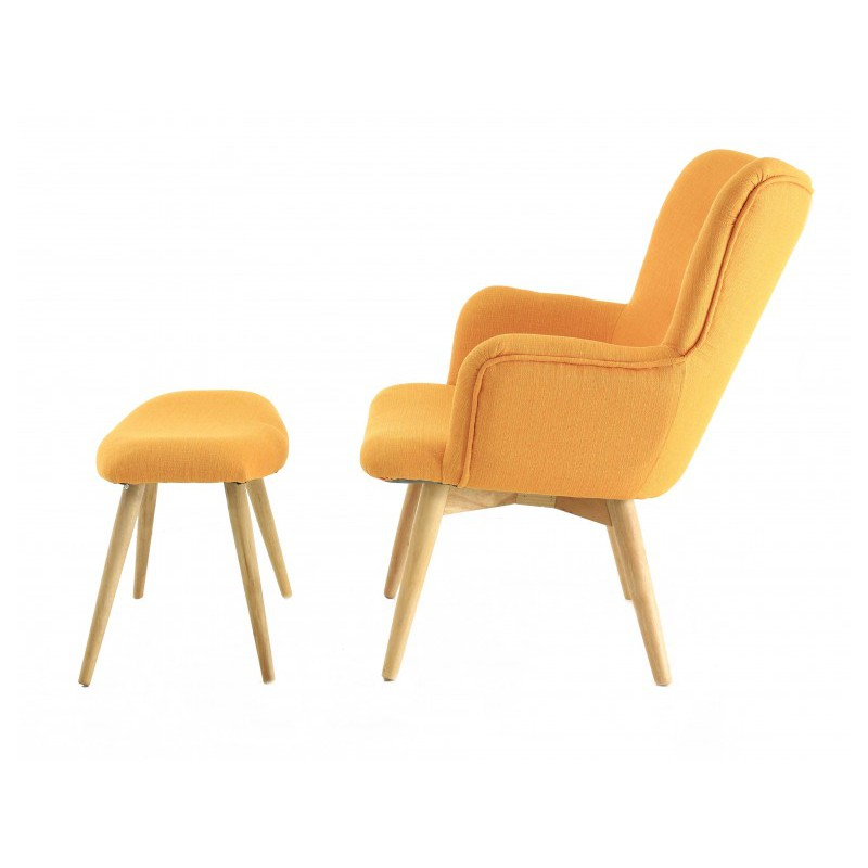 fauteuil scandinave en tissu avec repose pieds jaune stockholm. Black Bedroom Furniture Sets. Home Design Ideas