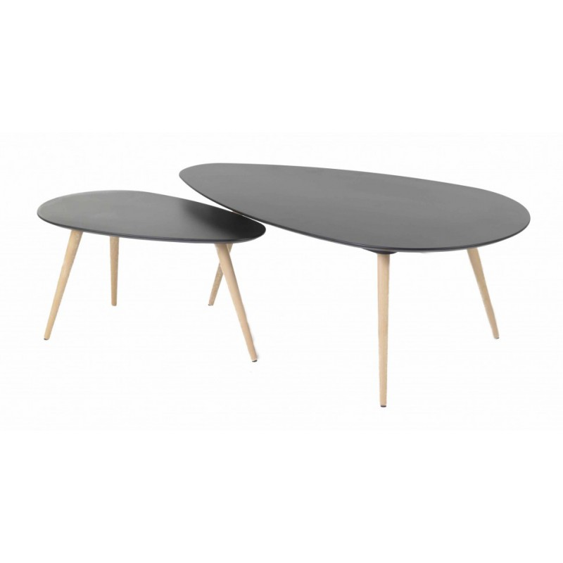 Tables basses gigognes scandinaves noires en ch ne pixy trendy homes - Tables basses noires ...