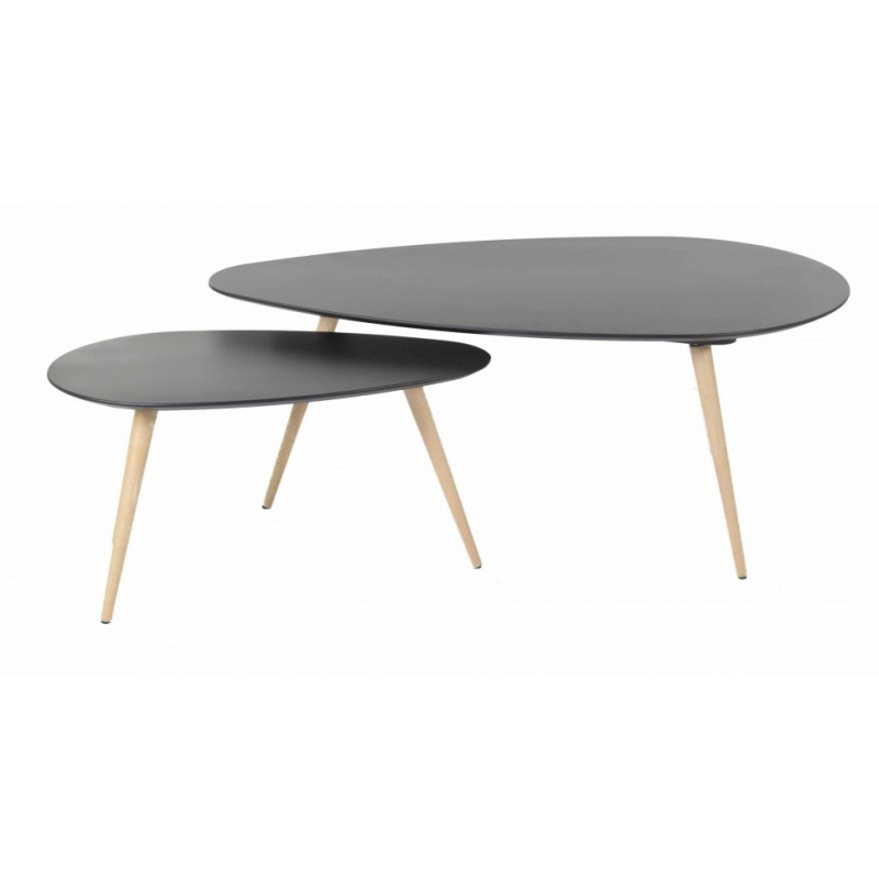 Tables basses gigognes scandinaves noires en ch ne pixy trendy homes - Table basse en chene ...