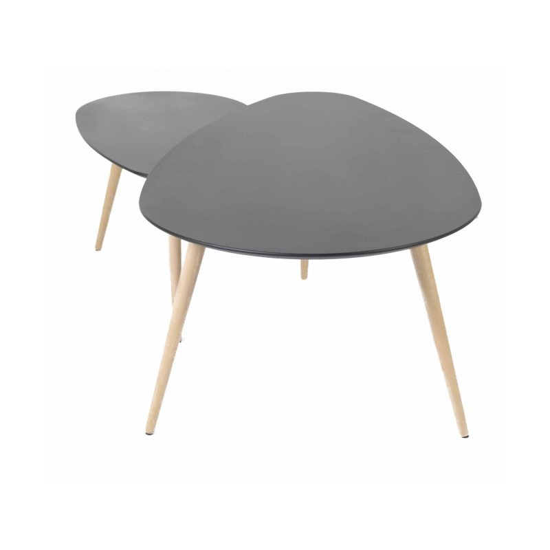 Tables basses gigognes scandinaves noires en ch ne pixy trendy homes - Tables basses gigognes ...