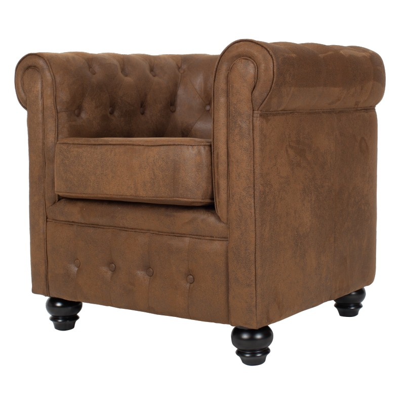 fauteuil chesterfield en microfibre aspect cuir vieilli marron westfield. Black Bedroom Furniture Sets. Home Design Ideas