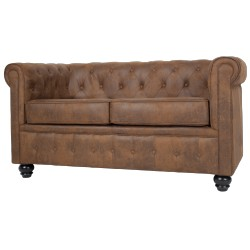 Canapé Chesterfield 2 places en microfibre marron - Westfield