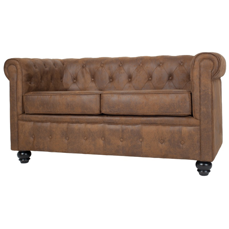 canap chesterfield 2 places en microfibre marron westfield. Black Bedroom Furniture Sets. Home Design Ideas