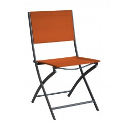 Chaise pliante en acier époxy gris et textilène orange DREAM Lot de 4 - Alizé