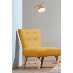 Fauteuil tissu jaune curry pieds bois ANDERS - Mëja