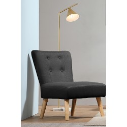 Fauteuil tissu anthracite pieds bois ANDERS - Mëja